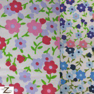 Plain Flower Print Poly Cotton Fabric