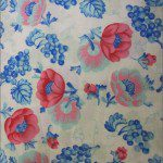 Poly Cotton Printed Fabric Blossom Flower Blue Pink
