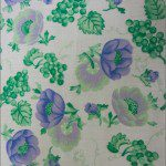 Poly Cotton Printed Fabric Blossom Flower Green Violet