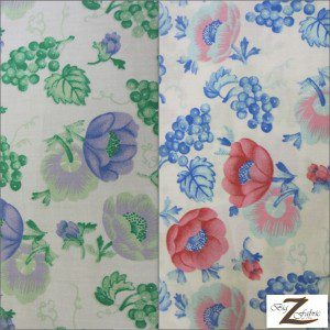 Poly Cotton Printed Fabric Blossom Flower