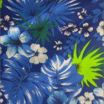 Flower Mix Poly Cotton Fabric Blue