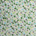Mini Flower Poly Cotton Print Fabric Green