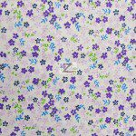 Mini Flower Poly Cotton Print Fabric Purple