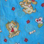 Poly Cotton Printed Fabric Animal Dog Blue