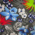 Flower Mix Poly Cotton Fabric Gray