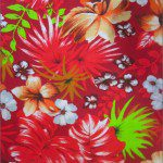 Flower Mix Poly Cotton Fabric Red