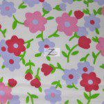 Plain Flower Print Poly Cotton Fabric Red