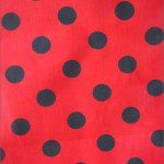 Big Polka Dot Poly Cotton Fabric Red Black