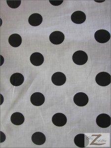 Big Polka Dot Poly Cotton Fabric White Black