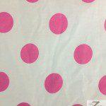 Big Polka Dot Poly Cotton Fabric White Fuchsia