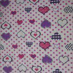 Love Dotted Hearts Poly Cotton Printed Fabric Dotted Pink
