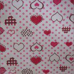 Love Dotted Hearts Poly Cotton Printed Fabric Dotted Red