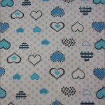 Love Dotted Hearts Poly Cotton Printed Fabric Dotted Turquoise