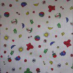 Teddy Bear Print Poly Cotton Fabric Beach White
