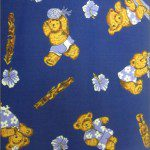 Teddy Bear Print Poly Cotton Fabric Camping Navy