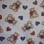 Teddy Bear Print Poly Cotton Fabric Hearts Purple Red