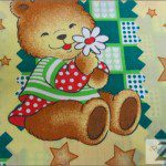 Teddy Bear Print Poly Cotton Fabric Sunshine Yellow