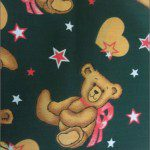 Teddy Bear Print Poly Cotton Fabric Star Green