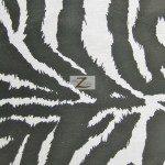 Zebra Print Poly Cotton Fabric White