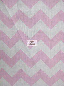 1″ Zig Zag Chevron Poly Cotton Fabric Pink