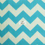 1″ Zig Zag Chevron Poly Cotton Fabric Turquoise