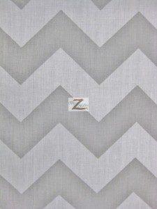 1″ Zig Zag Chevron Poly Cotton Fabric Gray
