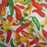 Vegetable Pepper Poly Cotton Printed Fabric White