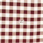 "Gingham 1"" Checkered Poly Cotton Fabric Burgundy"