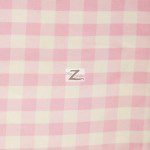 "Gingham 1"" Checkered Poly Cotton Fabric Pink"