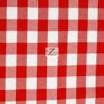"Gingham 1"" Checkered Poly Cotton Fabric Red"