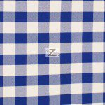 "Gingham 1"" Checkered Poly Cotton Fabric Royal Blue"