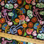 David Textiles Cotton Fabric Sugar Skulls Black