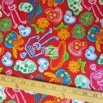 David Textiles Cotton Fabric Sugar Skulls Red