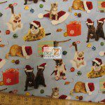Elizabeth's Studio Cotton Fabric Cats Holiday Friends