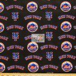 Major League Baseball Cotton Fabric New York Mets