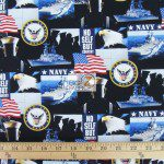 Support Our Troops U.S. Navy American Cotton Fabric