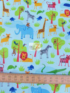 Jungle Party Blue By Robert Kaufman Cotton Fabric