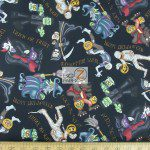 A Haunting We Will Go Black Cotton Fabric