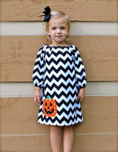 Chevron Poly Cotton Pumpkin Halloween Dress