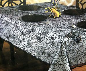 High Quality Halloween Cotton Fabric Web Tablecloth