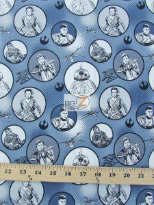 Star Wars The Force Awakens Character Toss Cotton Fabric