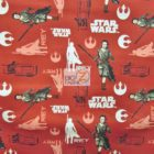 Star Wars The Force Awakens Rey Toss Red Cotton Fabric
