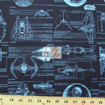 Star Wars The Force Awakens The Immortals Aircraft Schematics Cotton Fabric