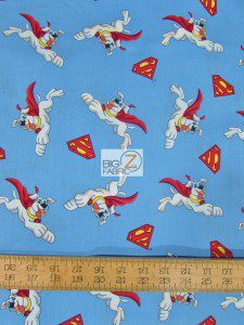 Superman DC Comics Cotton Fabric Krypto & Super Shield