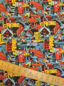 Superman DC Comics Cotton Fabric Stop Crime