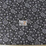 Paisley Bandanna Cotton Printed Fabric Black