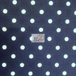 Polka Dot Cotton Fabric Navy Blue