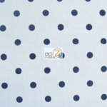 Polka Dot Cotton Fabric White Navy Dots