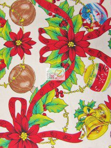 Jingle Bells & Ornaments Polycotton Fabric