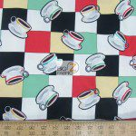Benartex Cotton Fabric Arnolds Diner Checkers & Coffee